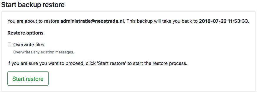 Start backup restore