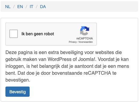 reCAPTCHA voorbeeld