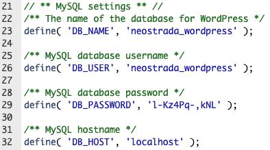 wp-config.php prilagođene db vrijednosti