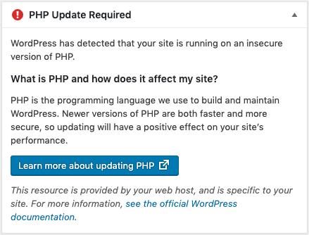 Potrebno je ažuriranje PHP-a