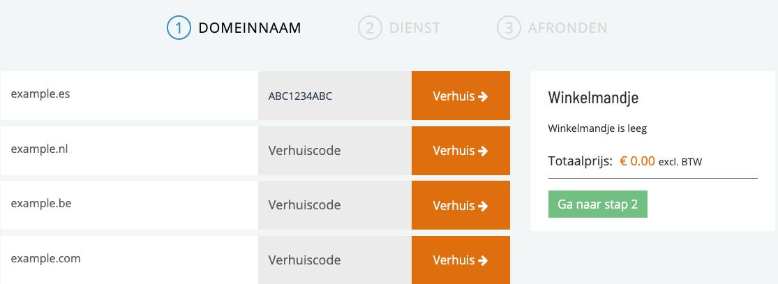 .es domein verhuiscode