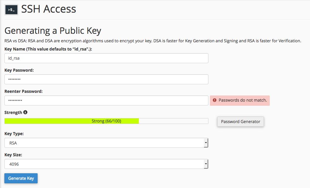 Generirajte javni ključ