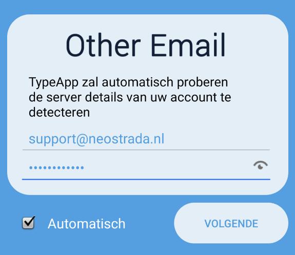 E-mailadres en wachtwoord