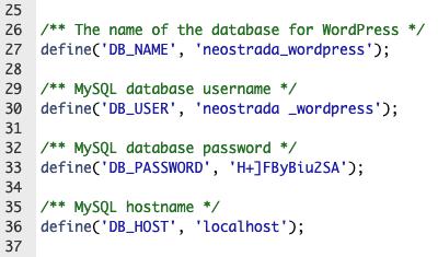 wp-config.php aangepaste db waardes