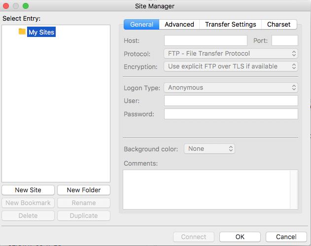Koristite Sitemanager za postavljanje SFTP-a