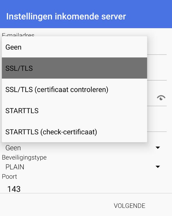 Inkomend SSL/TLS