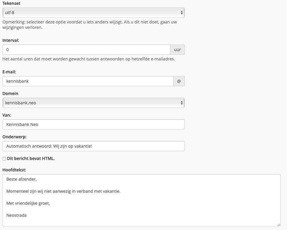 Automatisch antwoord voorbeeld