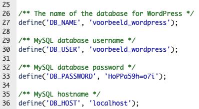 wp-config.php database instellingen