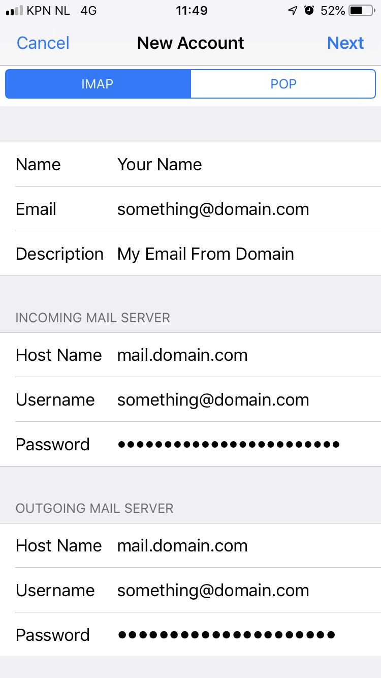 Postavke e-pošte na iPhone Neostrada, korak 4